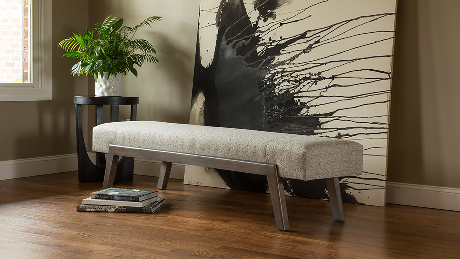 Custom Upholstered Modern Bench by Cox Manufacturing