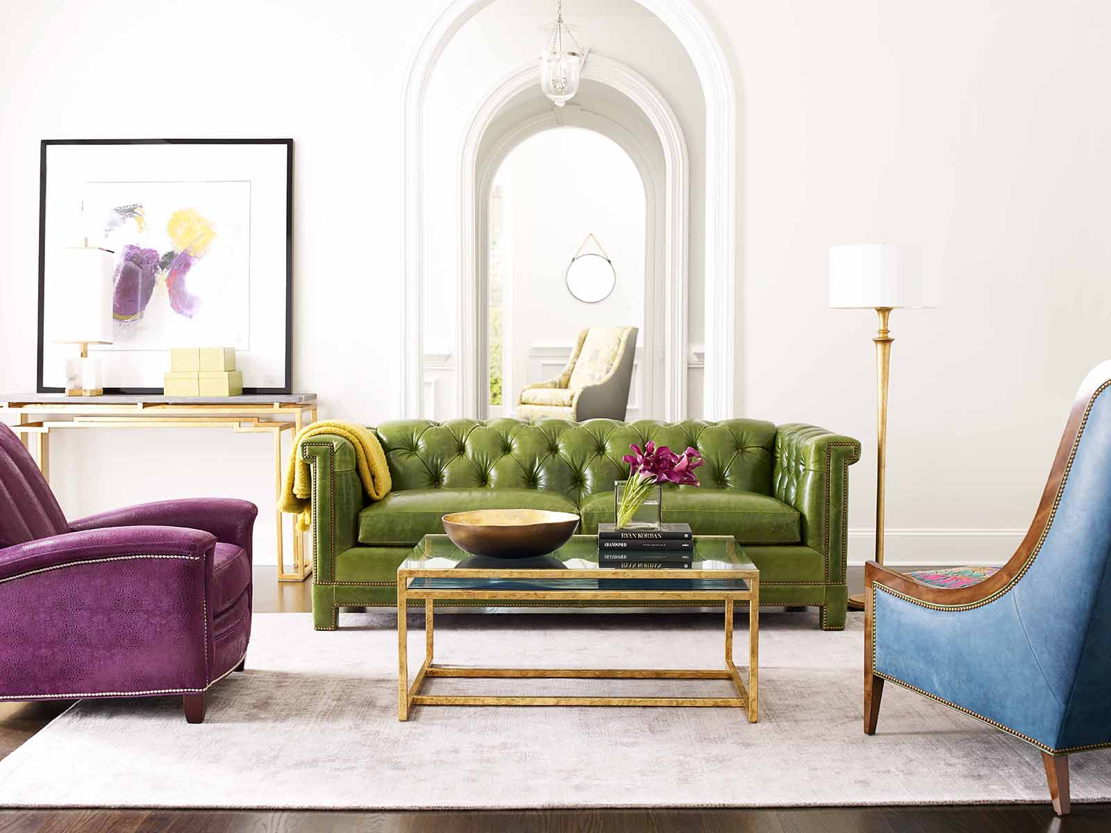 Harper Sofa in Green Leather by Hancock & Moore