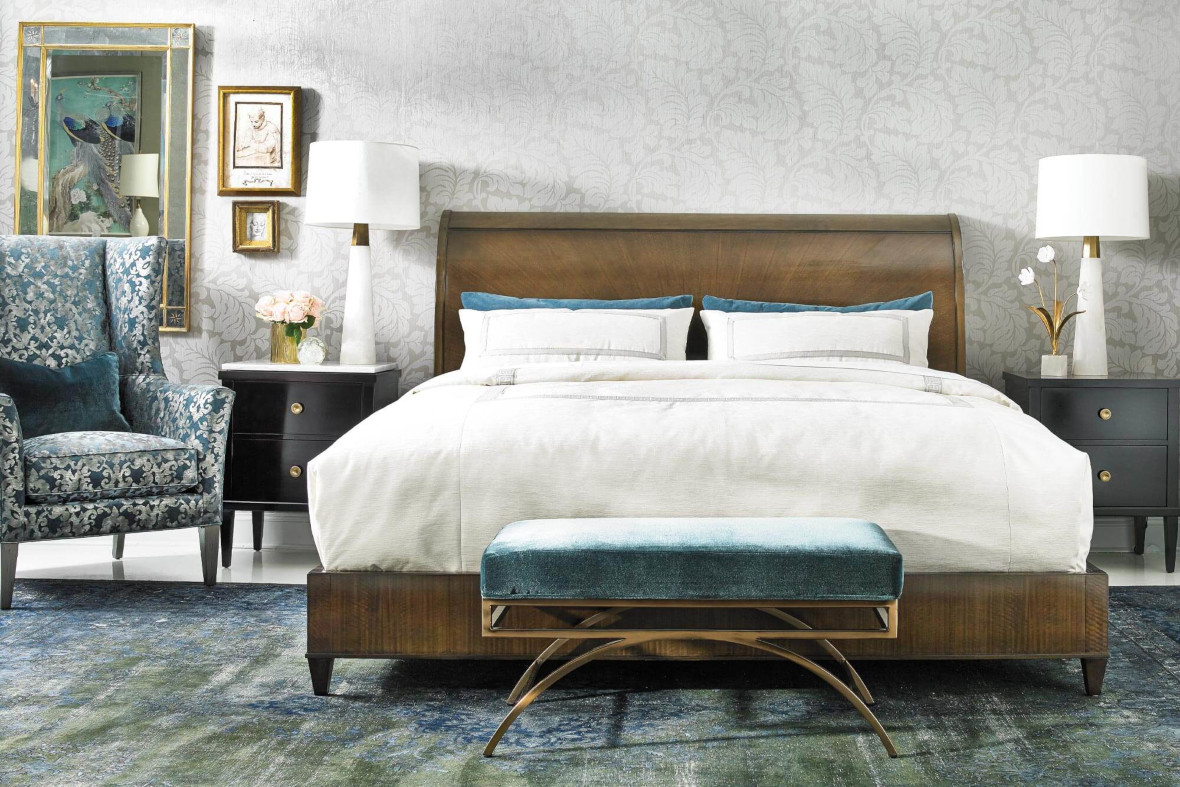 Bed, nightstands & accent chairs by Hickory White