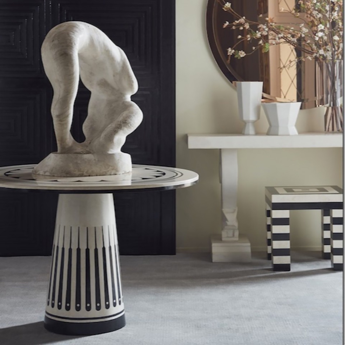 Stoneham Center Table with White & Black Waxstone