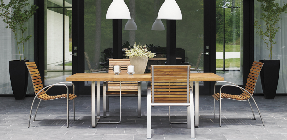 Modern Wood & Metal Modern Dining Table & Chairs by Tommy Bahama