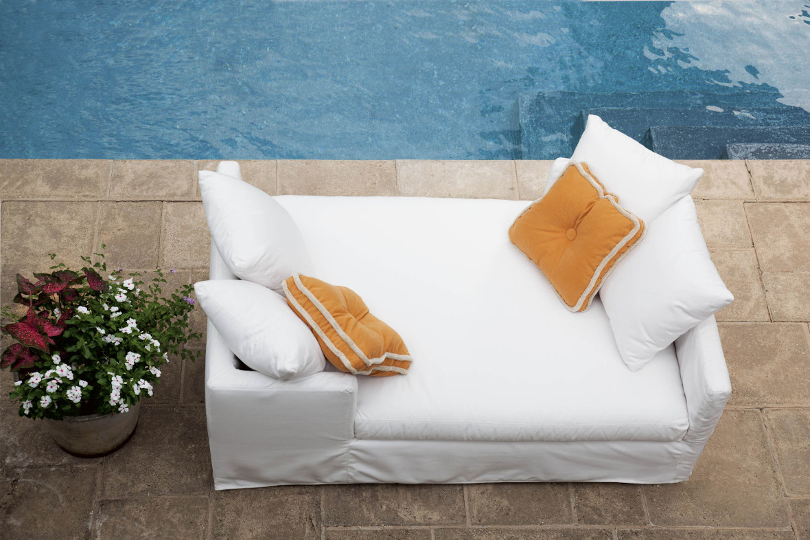 US112-95 Nandina Outdoor Slipcovered Double Chaise in Spinnaker Salt , Shown w/ Extra Contrasting Throw Pillows