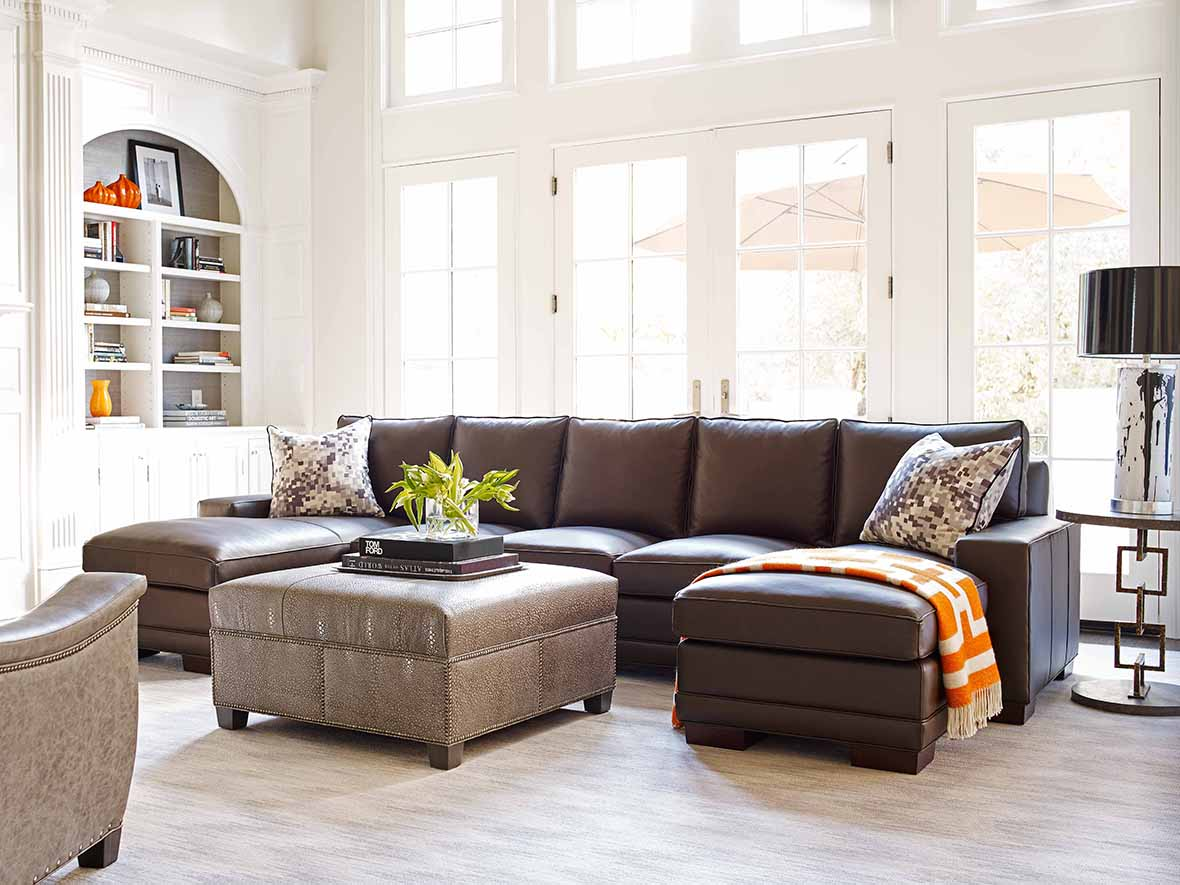 Your Way Sofa in Nirvana Coffee with Java Finish with Ottoman and Circuit Side Table