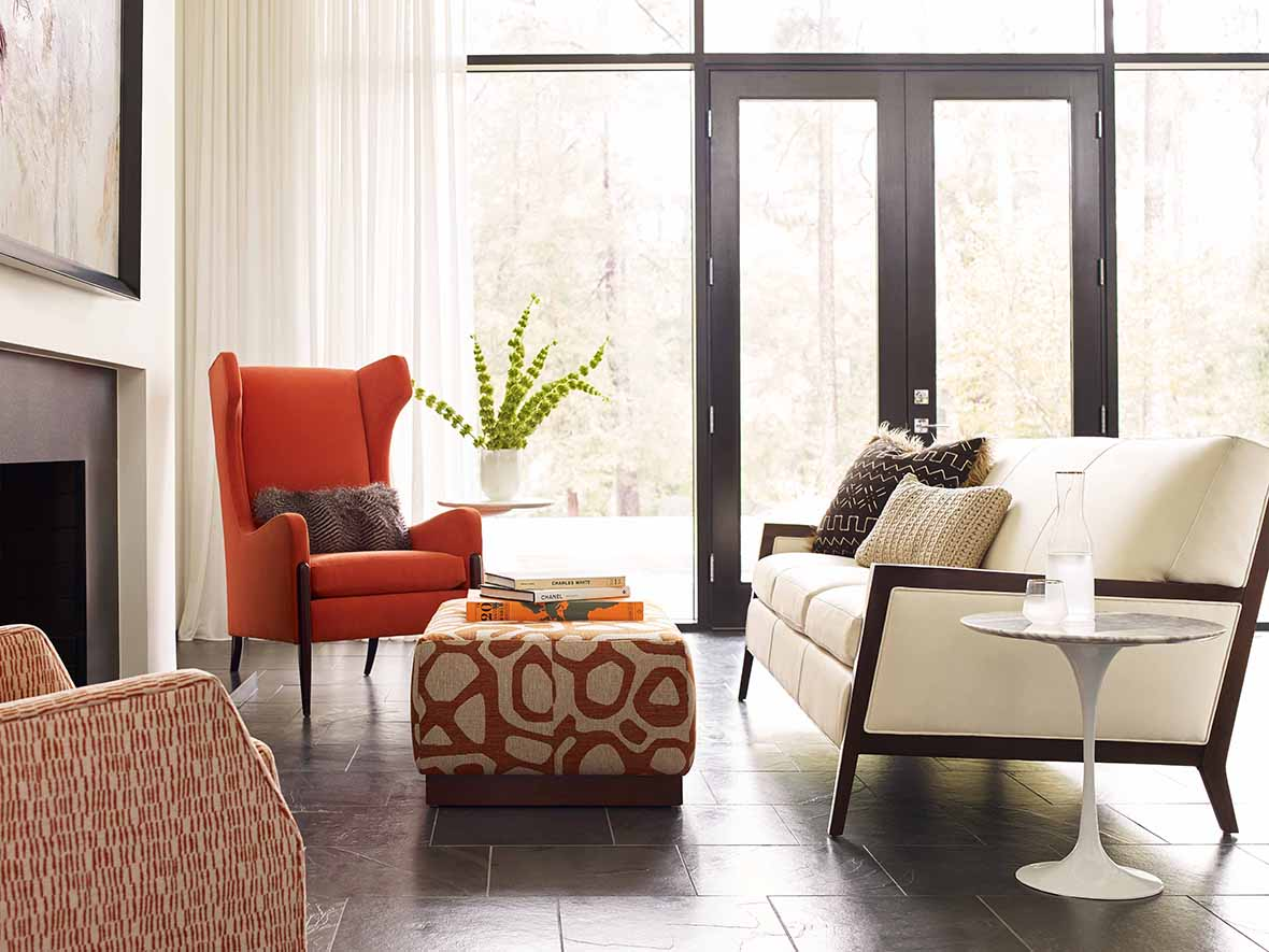 Zander Sofa in Nirvana Cloud in Espresso Finish, Mayer Chair in Dwyer Mango in Java Finish