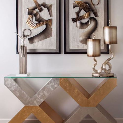 ArtMax Furniture Metallic Console and Accessories