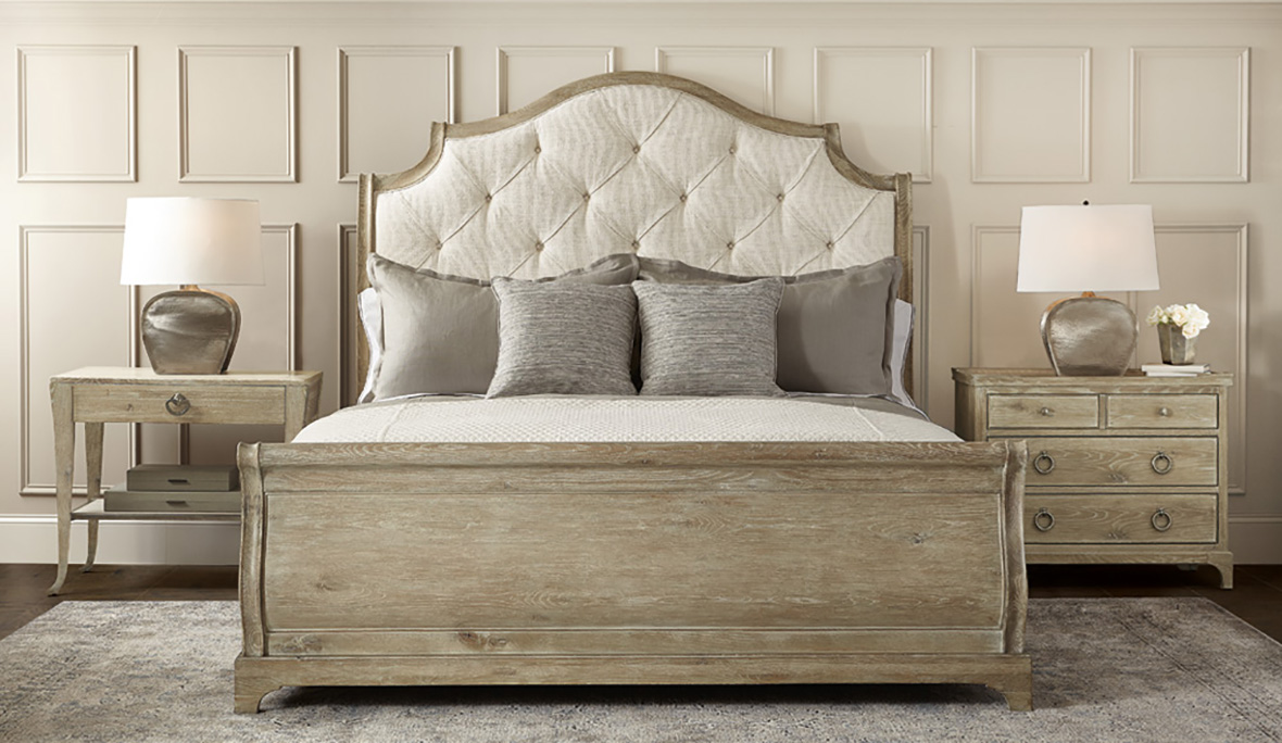 Bernhardt Rustic Patina Upholstered Sleigh Bed
