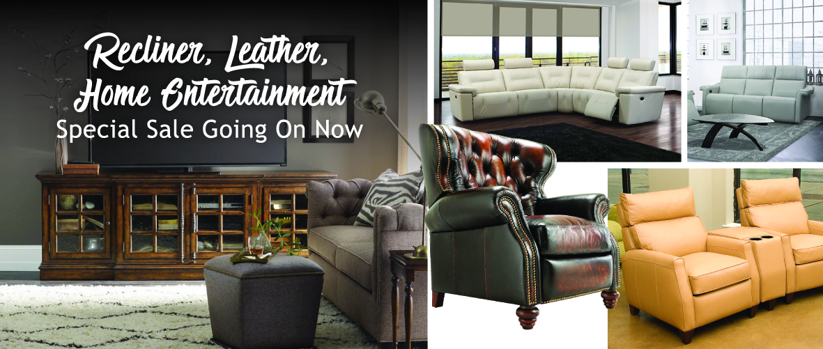 Furniture sale at Sedlak Interiors in Cleveland for home entertainment, leather and recliners