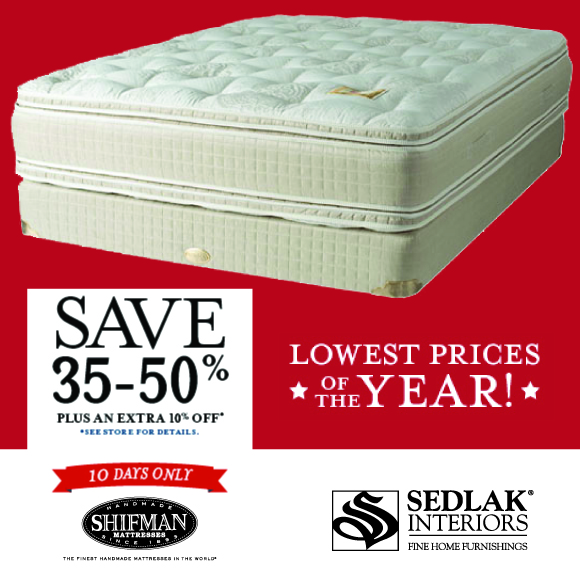 Shifman Mattresses Lowest Prices of the Year